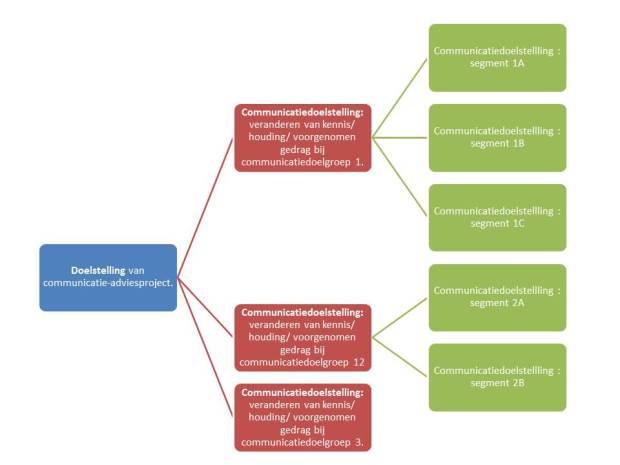Projectdoelstellingen bereik je door communicatie-doelstellingen te bereiken. Communicatiedoelstellingen formuleer je per communicatie-doelgroep en per segment.