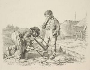Jacob Ernst Marcus - Landschap met zagende jongen 1812. Bron: http://collectie2008.boijmans.nl/nl/work/BdH%2010237-57%20%28PK%29
